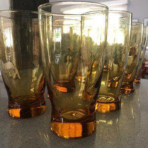 Midcentury modern glassware (8) yellow/gold glass